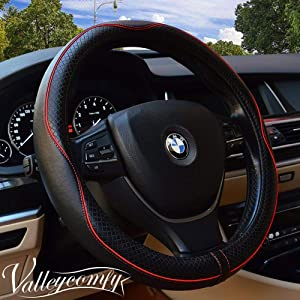 Valleycomfy Universal 15 inch Auto Car Steering Wheel Cover with Black Genuine Leather add Red Lines for X1 X3 X5 335i 535i HRV CRV Accord Corolla Prius,etc.