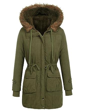 Beyove Women s Warm Winter Parka Mid-long Coat Lined Faux Fur Hood Army  Green S 865ca18af1
