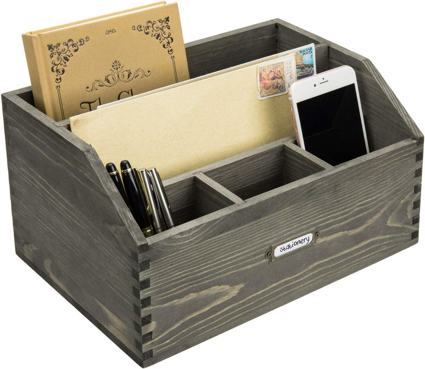 MyGift 5-Slot Vintage Gray Wood Large Desktop Document, Folder and Office Supplies Organizer with Antique Metal Label Holder