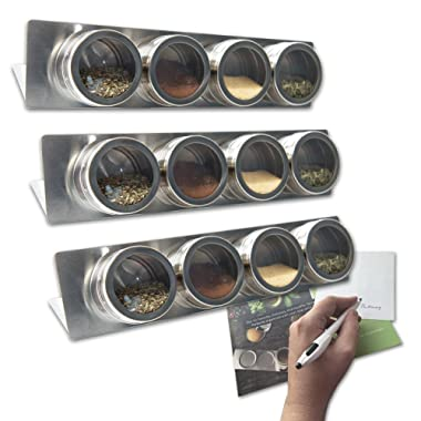 12 Magnetic Spice Tin Containers with Racks- 16 labels, FREE Spice Booklet! - Wall mounted - NEW IMPROVED QUALITY! - Easy Install (spices not included)