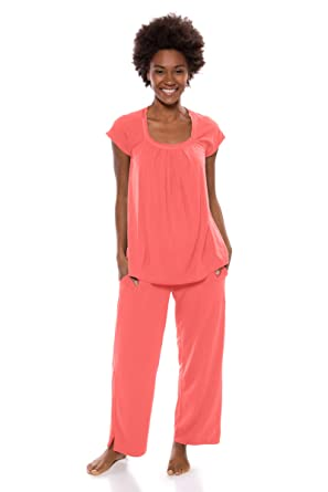 a0e0a6c6dd Texere Women s Bamboo Pajama Sleep Set - Soft Comfortable Sleepwear WB0001  - Pink -