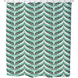 Fern Chevron Shower Curtain: Small Waterproof Luxurious Bathroom Design Woven Fabric