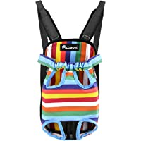 Pawaboo Pet Carrier Backpack, Adjustable Pet Front Cat Dog Carrier Backpack Travel Bag, Legs Out, Easy-Fit for Traveling Hiking Camping for Small Medium Dogs, Small Size, Colorful Strips
