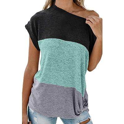 MOTOCO Mujer Camiseta de Manga Corta Top/Camiseta Color sólido Cosido Fuera del Hombro Blusa Oversize Top: Ropa y accesorios