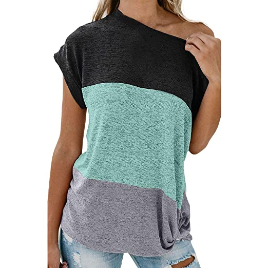 044ec990f11 YFancy Women's Short Sleeve Summer Tops Solid Color Patchwork Stitching  Knotted Off-Shoulder Blouse T