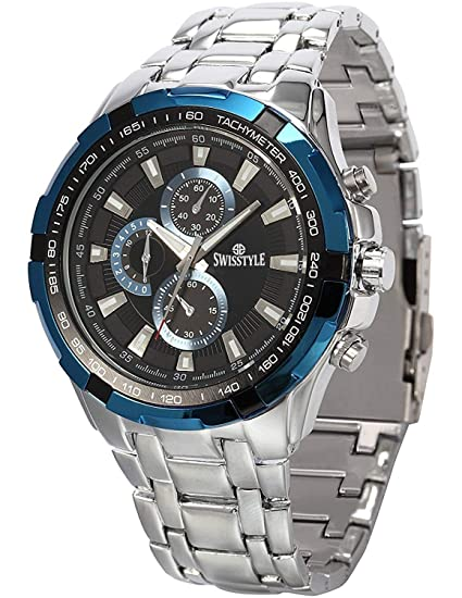 1f100035242 Buy SWISSTYLE Analog Blue dial Mens watch SS-GR6620-BLU-CH Online at Low  Prices in India - Amazon.in