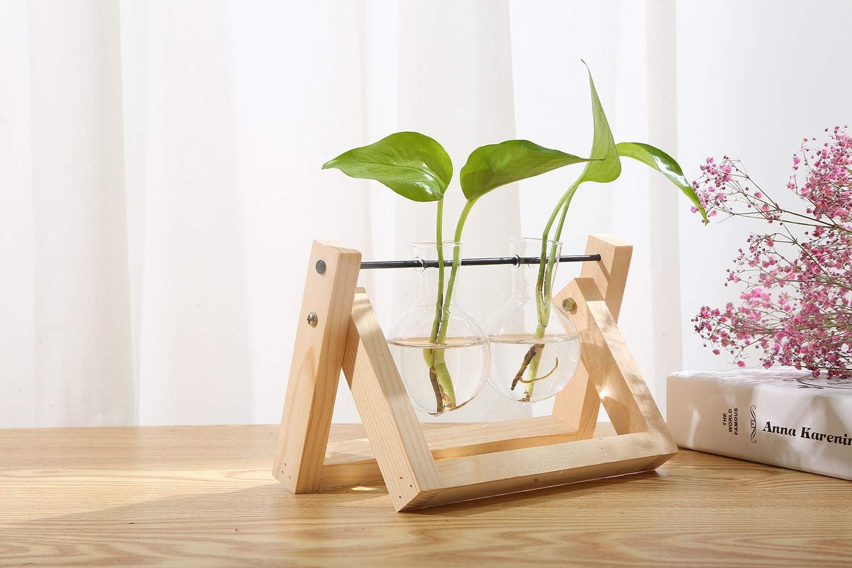 KnikGlass Vase en Verre avec Support en Bois Vintage lint/érieur et lext/érieur Style A /él/égant et Simple d/écoration Unique pour Plantes hydroponiques 1 Vase d/écoration pour la Maison