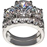 5 Ct. Bold Past Present & Future Style Cubic Zirconia Cz Bridal (Round-shaped Center Stone Is 2.75 Cts)
