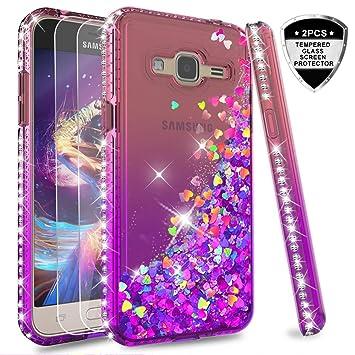 LeYi Compatible with Funda Samsung Galaxy J3 2016 Silicona Purpurina Carcasa con [2-Unidades Cristal Vidrio Templado],Transparente Cristal Bumper ...