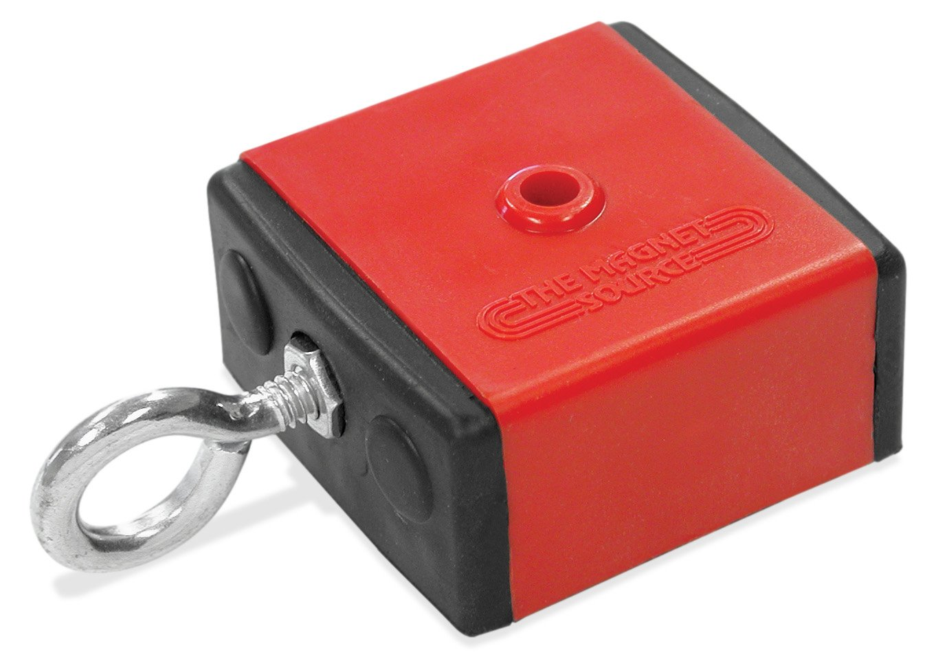 Master Magnetics 07503 Retrieving and Holding Magnet, Durable Plastic, 100 lb, 2.375'' Length, 2.375'' Width, 1.25'' Height with Eyebolt, Nuts and Magnetic Shields, Red/Black