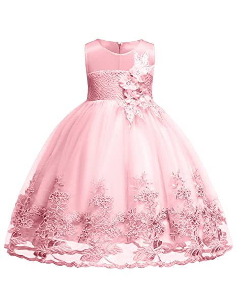 557dd91bb0c6 Blevonh - Vestido de Gasa para niñas, sin Mangas, con Encaje 3D, para