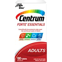 Centrum Adults Forte Essentials (100 Count) Easy to Swallow, Multimineral Multivitamin Supplement