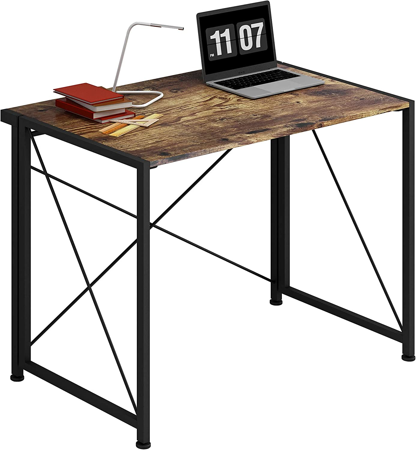 4NM No-Assembly Folding Desk Small Computer Desk Laptop Table Compact Home Office Desk Study Reading Table for Space Saving Office Table (Rustic Brown and Black)