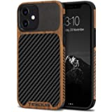TENDLIN Compatible with iPhone 12 Mini Case Wood Grain with Carbon Fiber Texture Design Leather Hybrid Case