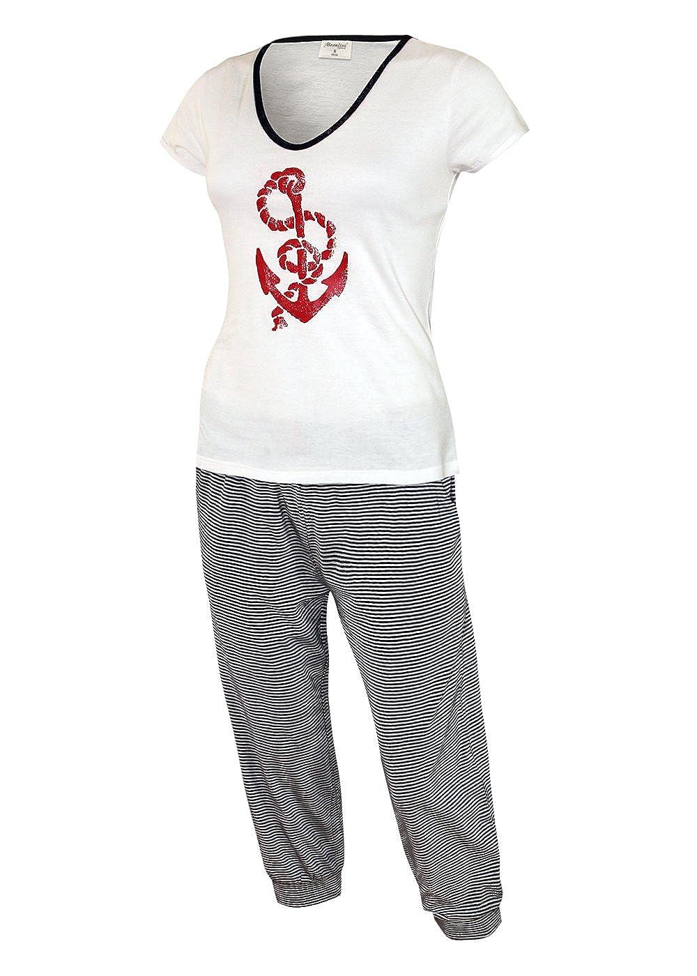 2ba82e3db1ffee Schlafanzug Kurz Caprihose Damen Pyjama Kurz Damen Nachthemd Kurz aus 100%  Baumwolle softweich Gr.
