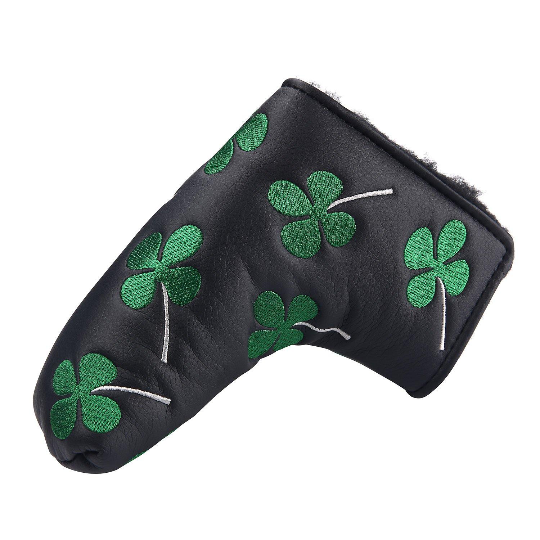 playeagle刺繍グリーン四つ葉のクローバーゴルフパター用ヘッドカバーカバーfor Scotty Cameron Taylormade B01MXS03R8  ブラック
