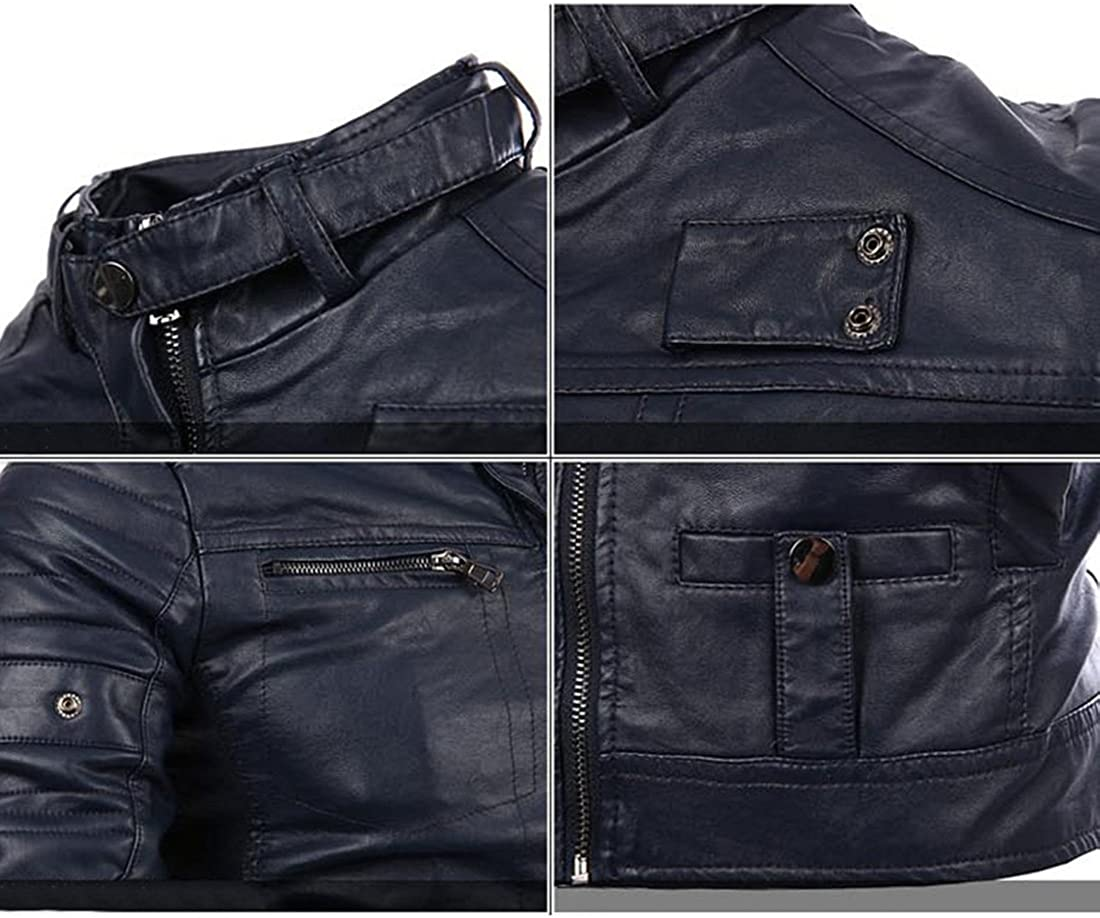 YYF Mens Casual Stand Collar PU Leather Coat Moto Jacket
