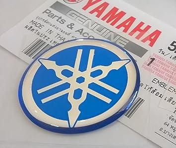 100 GENUINE 30mm Durchmesser YAMAHA STIMMGABEL Aufkleber Sticker Emblem Logo BLAU Erhoht Gewolbt Gel Harz