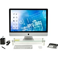 Mount-It! Glass Desktop Monitor Stand Riser   Raised Laptop Stand Organizer   Wide Clear Tempered Glass Computer Riser…