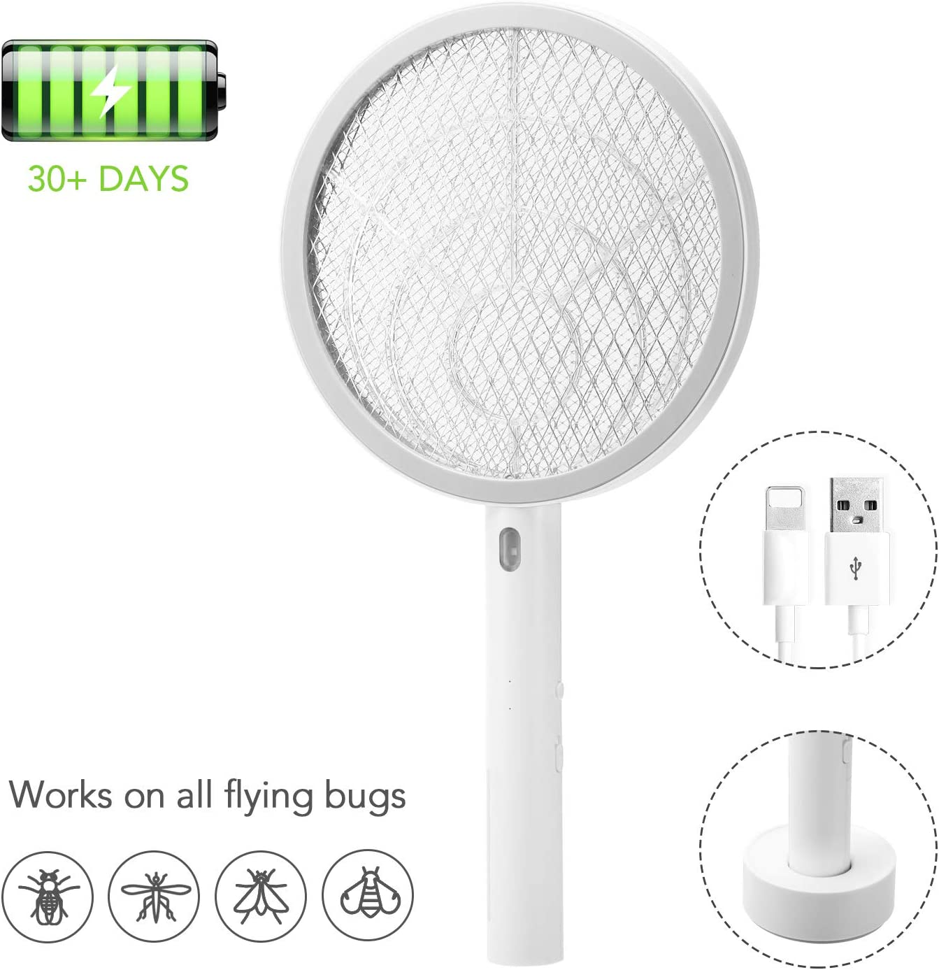 Electric Bug Pest Insect Fly Wasp Handheld Racket Zapper Killer Mosquito Swatter