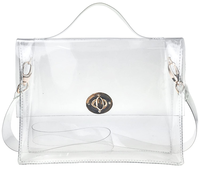 4565220f8f58 Clear Bag with Turn Lock Closure Cross Body Bag Women s Satchel Transparent  Messenger Shoulder Handbag(NFL Stadium Approved)  Handbags  Amazon.com