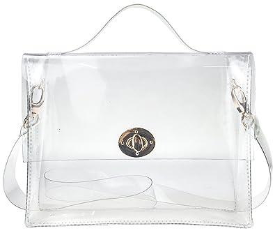 fe72e8458c6d0 Clear Bag with Turn Lock Closure Cross Body Bag Women s Satchel Transparent Messenger  Shoulder Handbag(