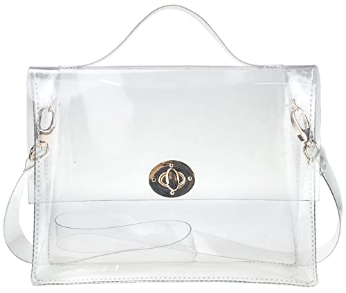 Clear Bag with Turn Lock Closure Cross Body Bag Women s Satchel Transparent  Messenger Shoulder Handbag( 7a2d39192eb8b