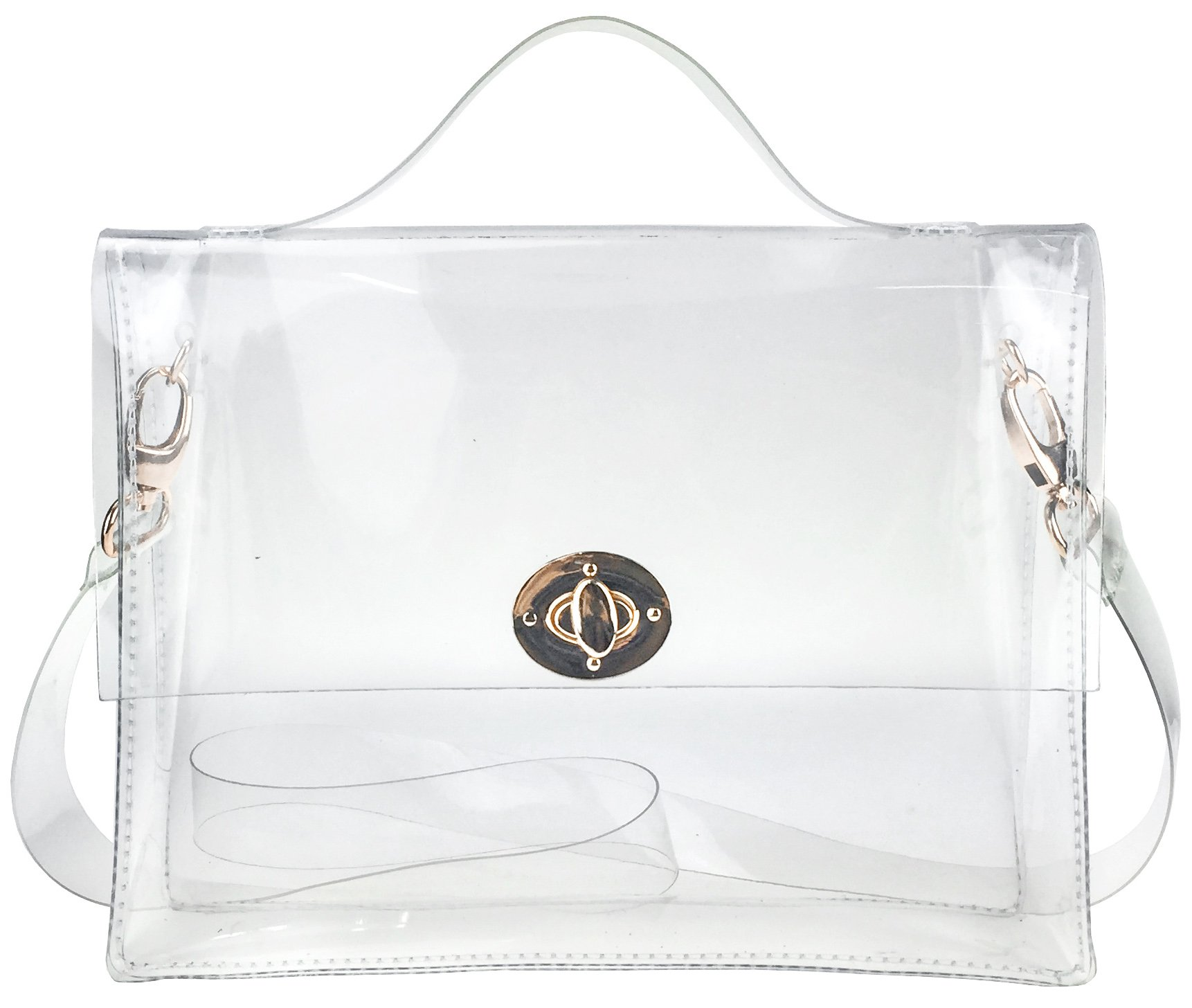 Clear Bag with Turn Lock Closure Cross Body Bag Women's Satchel Transparent Messenger Shoulder Handbag(NFL Stadium Approved)