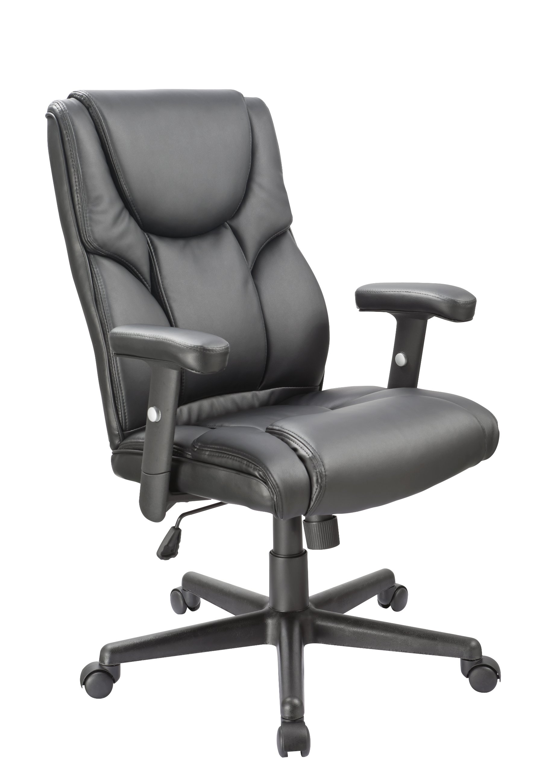 OFFICE FACTOR Leather Executive Office Chair, Ergonomic Chair Lumbar Support, Swivel Chair, Black Leather Executive Chair Office