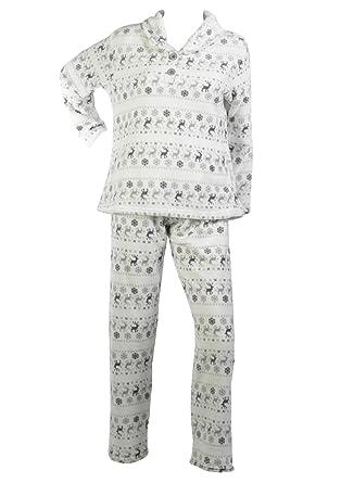 47b196c90 Ladies Soft Fleece Fairisle   Reindeer Pajamas Top   Bottoms PJs ...