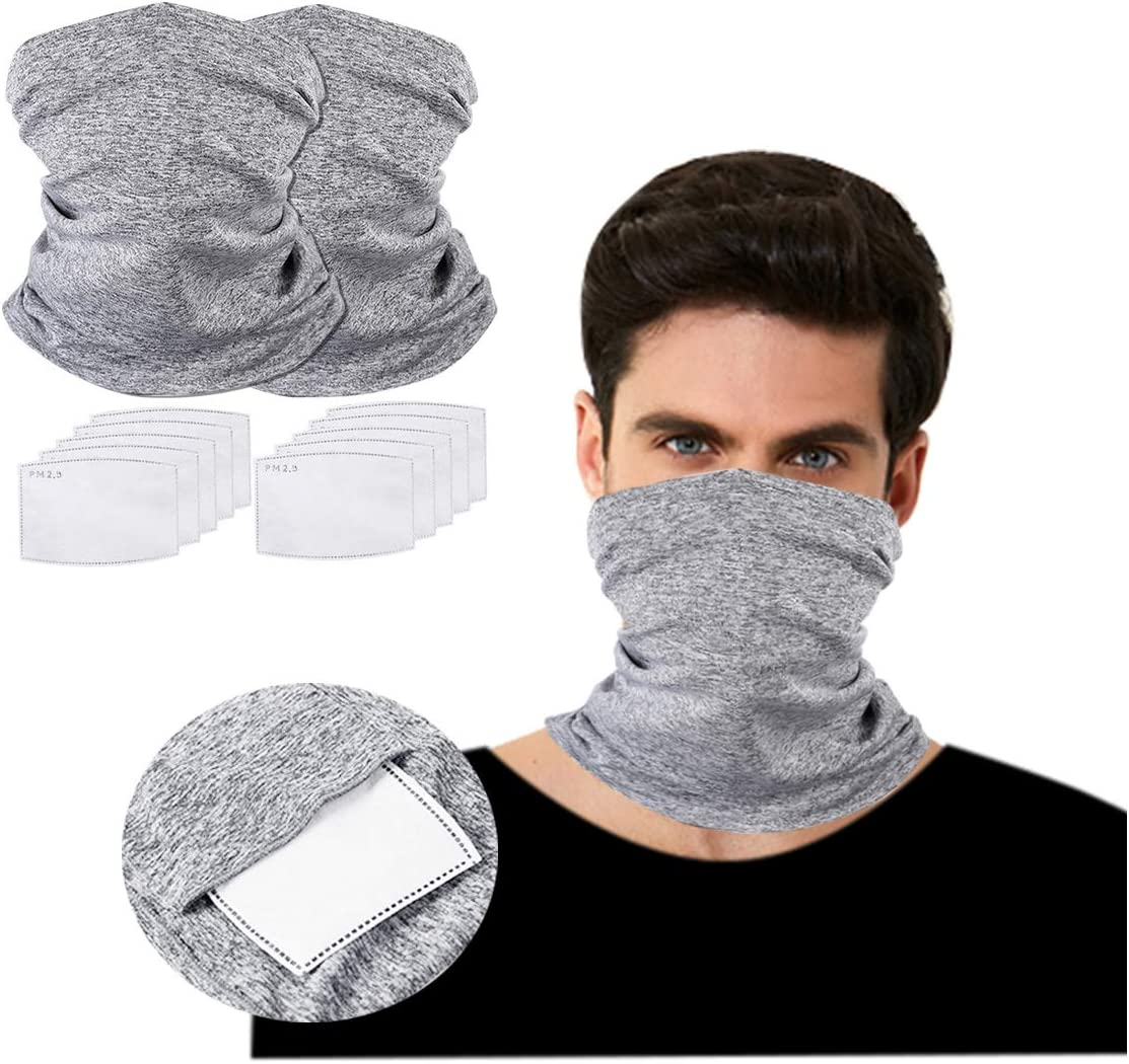 HAOHONG 2PCS Neck Gaiter Bandana Face Scarf with 10PCS Filters Sun Protection Cool Lightweight Breathable Dust-proof for Fishing Hiking Running Cycling