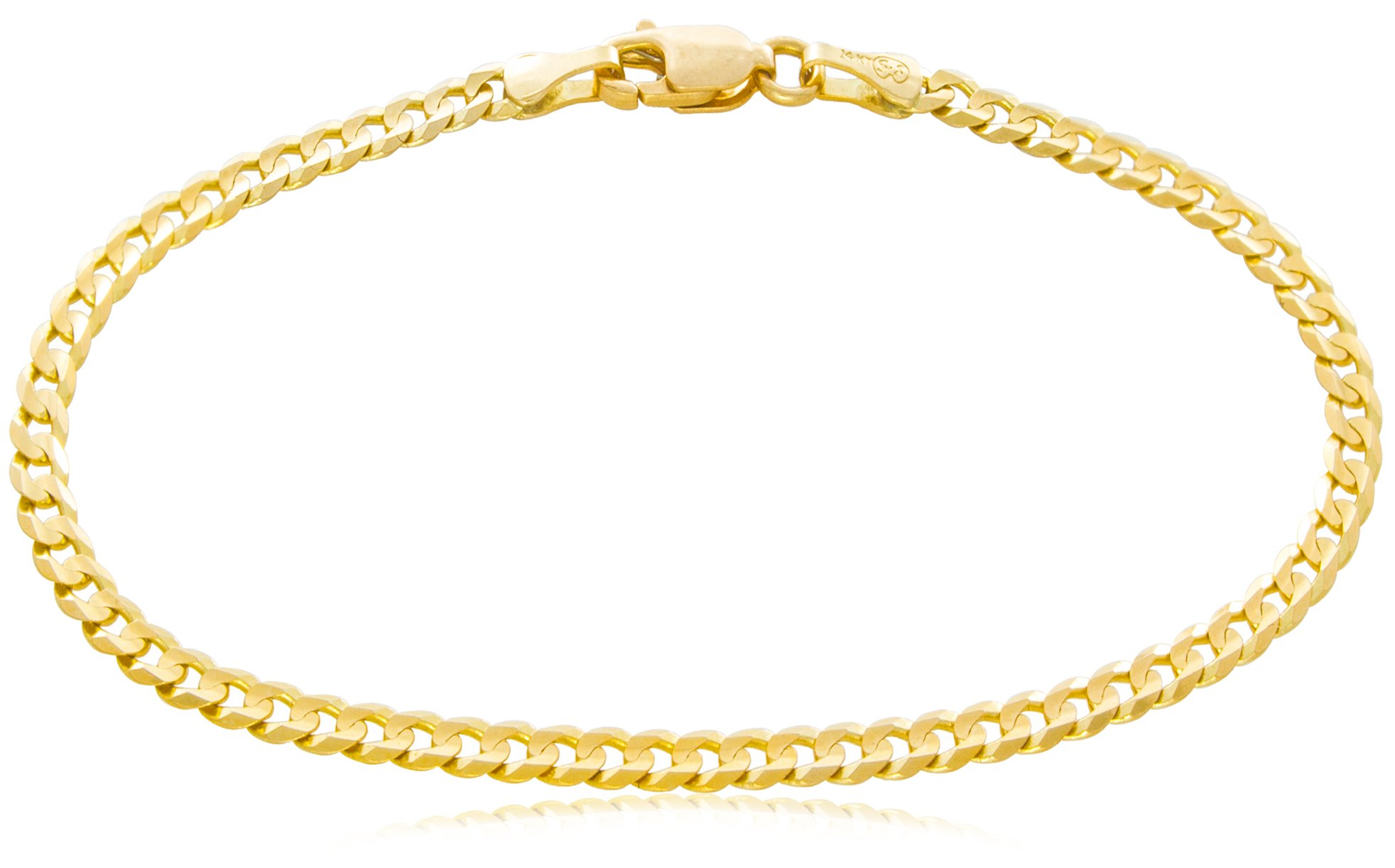Solid Gold Curb Chain Bracelet 14K Yellow Gold 3mm Wide by 8-1/2'' Long | 3.5g