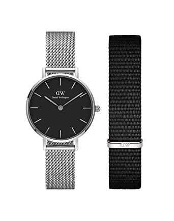 3427766b35443 Buy Daniel Wellington Classic Petite Sterling Black 28 mm Watch and  Cornwall 12 mm Nato Strap (Black) Watch and Strap Combo Online at Low  Prices in India ...
