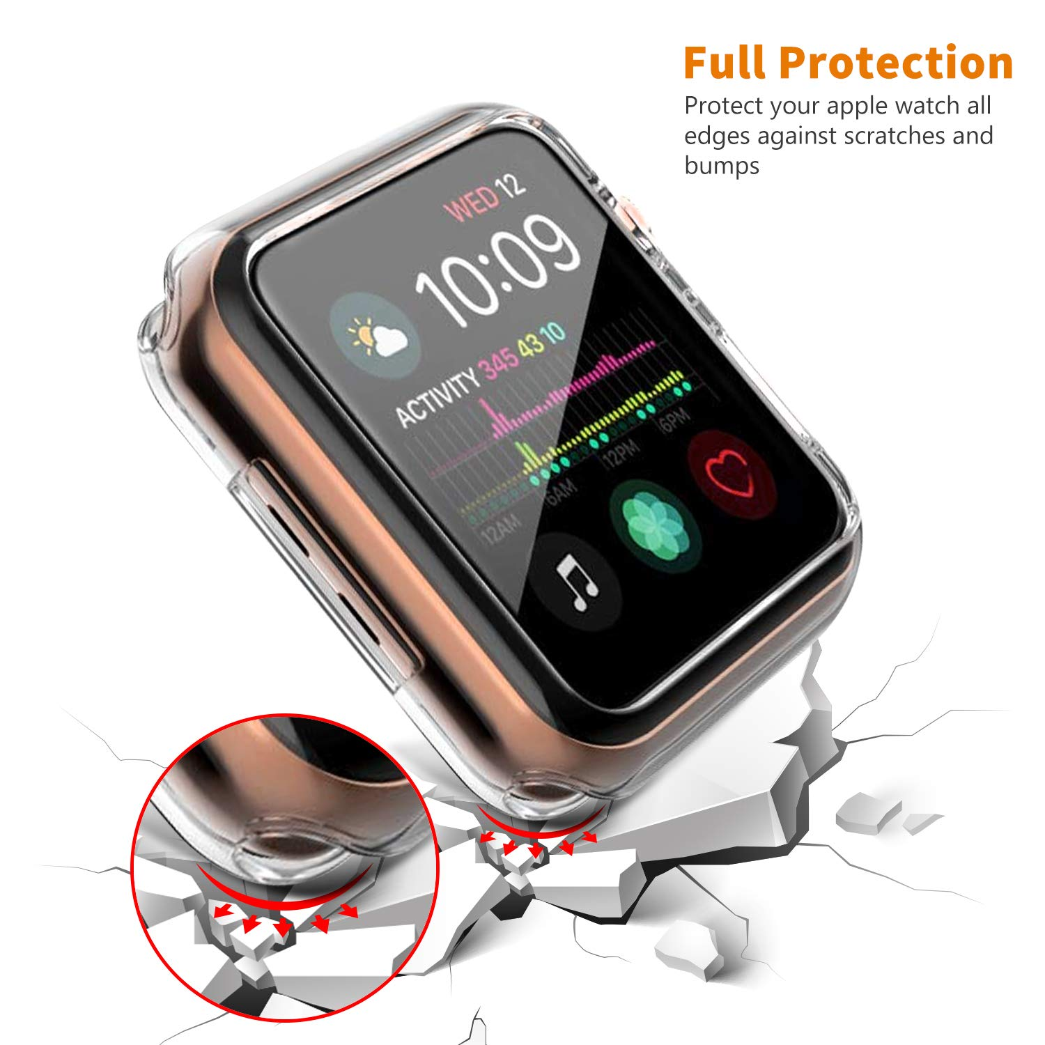 VODKE Compatible with Apple Watch Case Series 4 44mm, Soft TPU Watch Bumper Case Cover Protector Compatible with iWatch Series 4 by VODKE (Image #3)