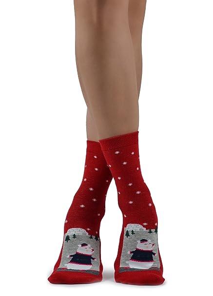 Calcetines rojos de Navidad, novedad, lindo oso polar, con copos de nieve: Amazon.es: Ropa y accesorios
