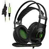 Xbox One PS4 PC Gaming Headset, SADES SA801 3.5mm Jack Gaming Headset Over the ear Headset with Retractable Microphone