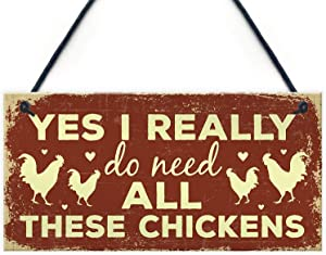 """Meijiafei Funny Chicken Sign for Chicken Lovers Novelty Birthday Gift Sign for Chicken Coop Hen House Home Decor 10"""" X 5"""""""