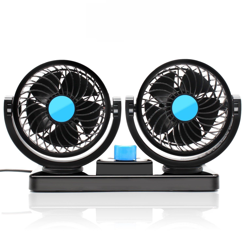 KanCai Ventilatore 12 Volt Doppia Testa Ventola di Raffreddamento avec Accendisigari Auto, Due velocità regolabile e rotazione manuale a 360 gradi Due velocità regolabile e rotazione manuale a 360 gradi