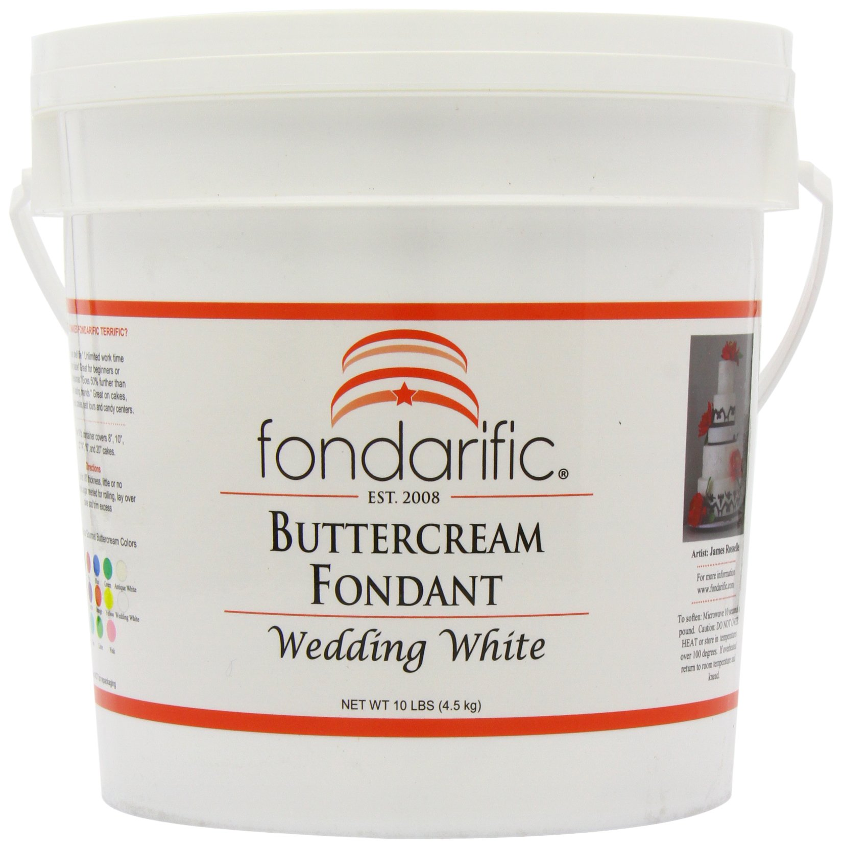 Fondarific Buttercream Wedding White Fondant, 10-Pounds