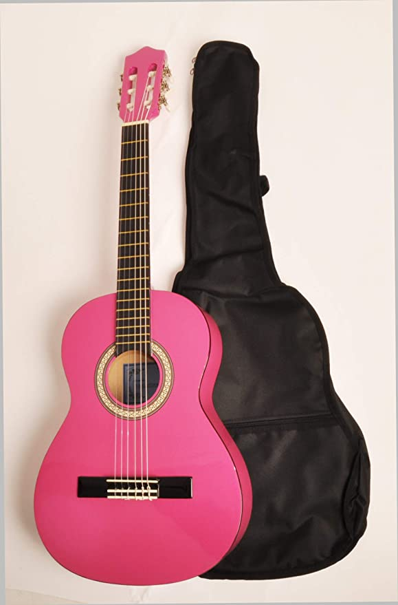 Omega clase Kit 3/4 MPN rosa zurdos 3/4 tamaño guitarra acústica w ...