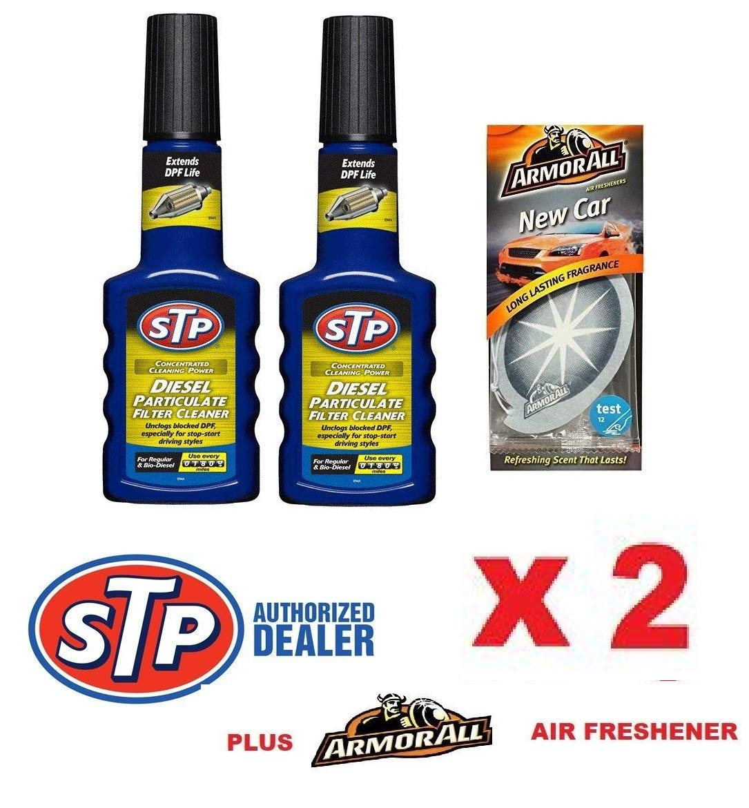 Roaduserdirect Car Care Packages STP DIESEL PACK - 2 x DPF Particulate Filter Cleaner Fuel Additive & Emoji Fresh
