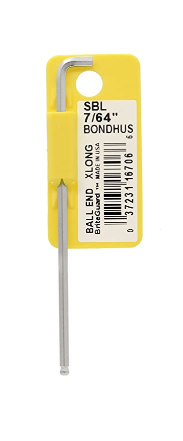 Long Arm Tagged and Barcoded Bondhus 16703 1//16 Stubby Ball End Tip Hex Key L-Wrench with BriteGuard Finish