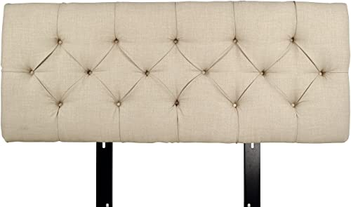 MJL Furniture Designs Jackie Collection Padded and Diamond Tufted Upholstered Solid Wood Queen Size Headboard