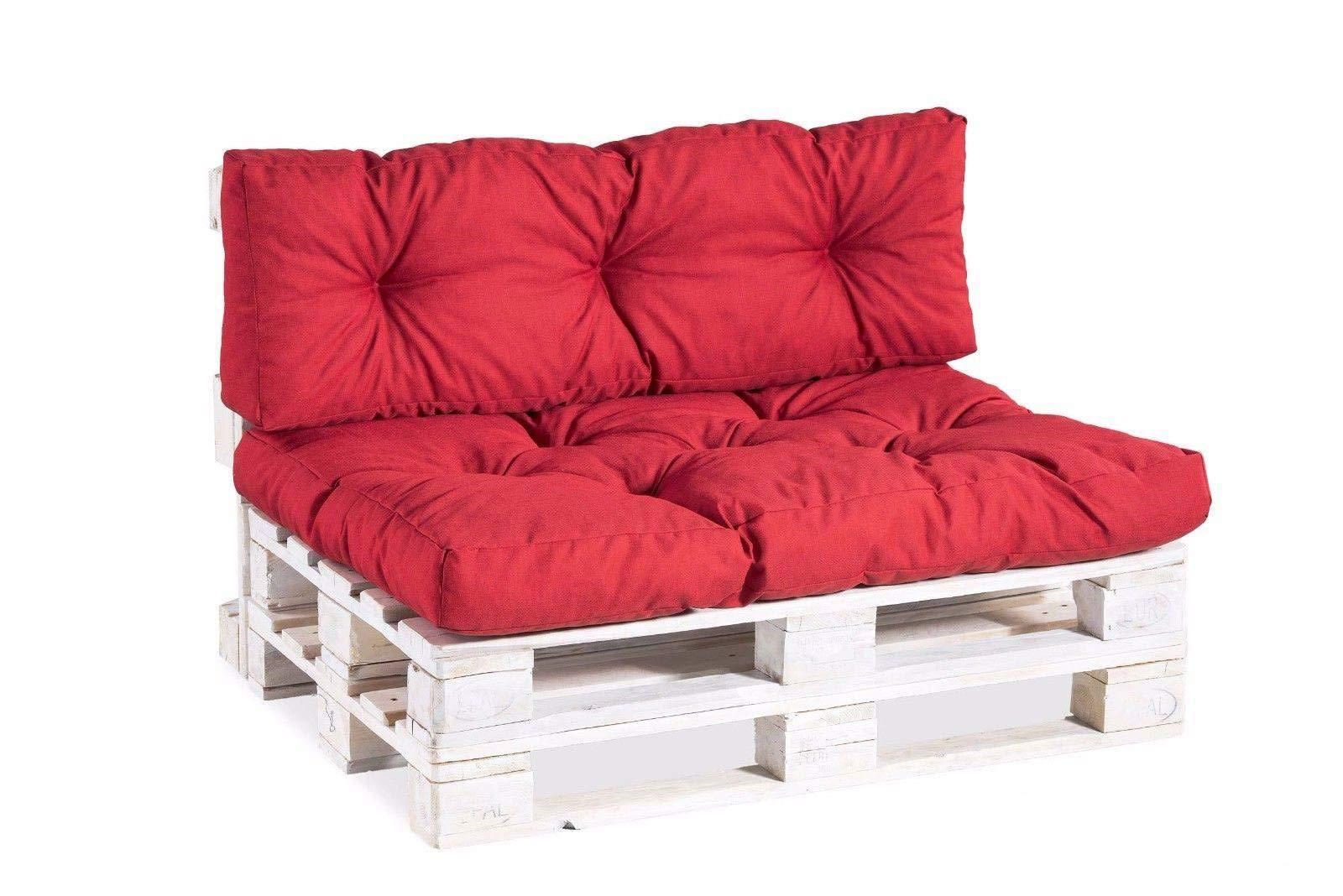 Coussins pour palettes, siège, appui, mousse, matelassée PP Set (Siège 120x80 + Appui 120x40, Rouge) product image