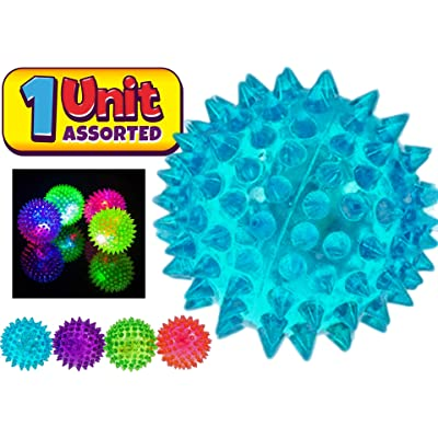 JA-RU Light Up Spike Rubber Ball (1 Unit Random Assorted Color) Flashing Lights Soft Colorful Cool Ball Therapy Balls 2.5 Inch | Item #695-1A: Toys & Games
