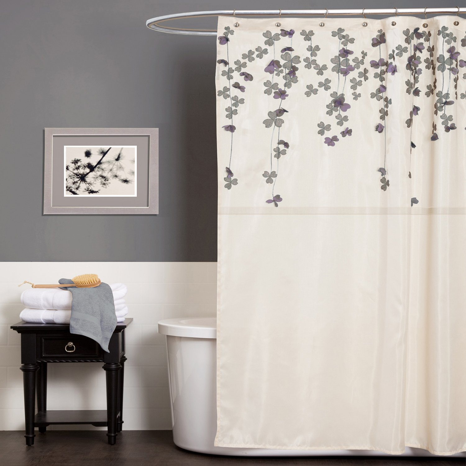 Amazon Lush Decor Flower Drop Shower Curtain 72 Inch By Ivory Purple Home Kitchen