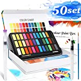 Watercolour Paint Set, Emooqi Premium Watercolour Paint Box Including 36 Colors Solid Pigment+2 Hook Line Pen+2 Water Tank Brushes+10 Watercolor Papers-Water, Soluble and Mix Well Watercolour Paint