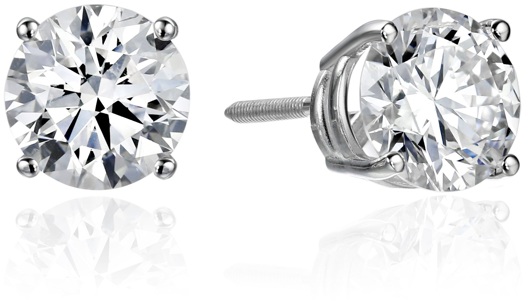IGI Certified 14k White Gold Lab Created Diamond Stud Earrings (2 cttw, I-J Color, SI1-SI2 Clarity) by Amazon Collection