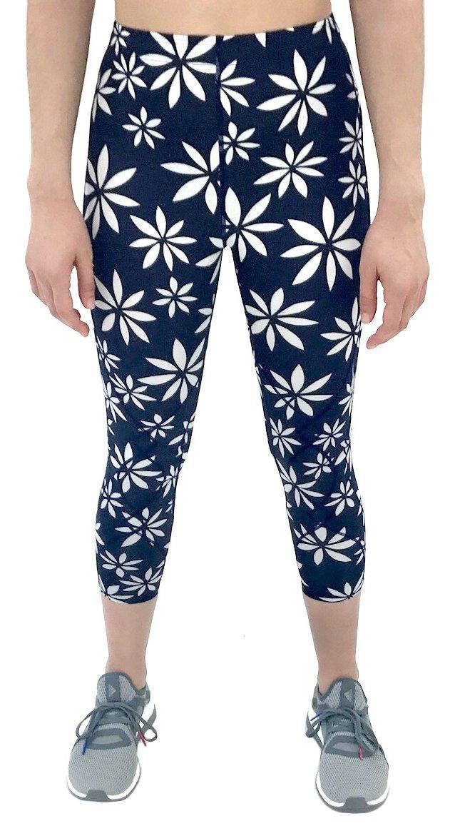 CW-X Women's Mid Rise 3/4 Capri Stabilyx Compression Legging Tights (Small, Navy/White Daisy Print)