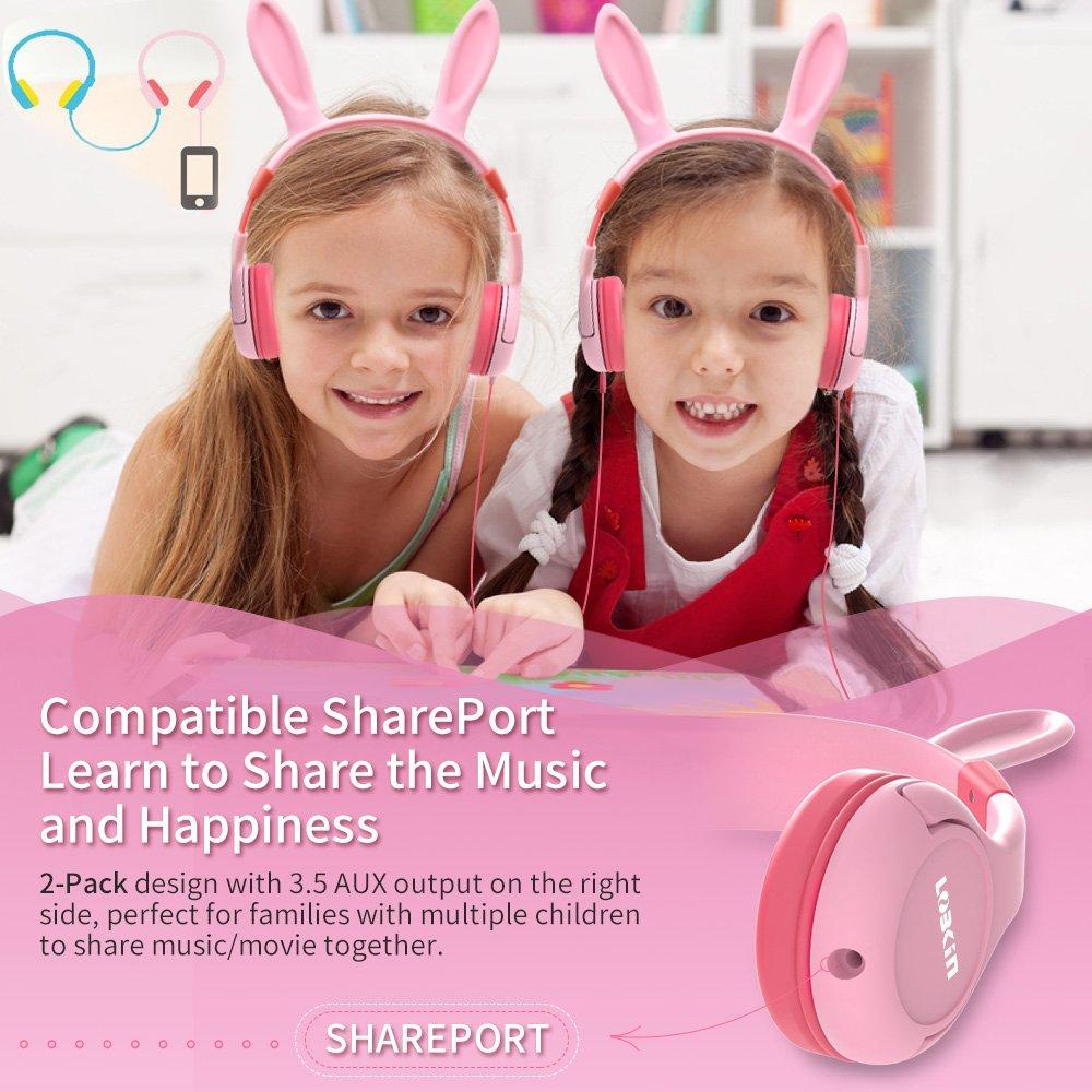 LOBKIN Katzenohren Kopfhörer Kinder Kopfhörer Blinken Glühende Cosplay Fancy Over-Ear Gaming Headset mit LED-Licht für Mädchen, Kinder, kompatibel für iPhone 6S, Android Handys (Cuffie con Cavo)